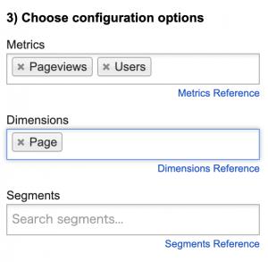 Googleアナリティクスアドオンのメトリクスとディメンションを選択